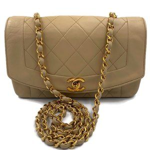 Authentic Chanel Beige Small Diana Flap Bag